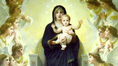Salve Regina (Hail Holy Queen), Latin Hymn to the Blessed Virgin Mary, by the Daughters of Mary (You can find the words to this in Latin and English at Wikipedia and thus follow along.)