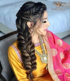 fishtail braids on real brides gave us legit of hairspiration Bridal Hairstyle Indian Wedding, Bridal Hair Buns, Bridal Hair And Makeup, Bridal Braids, Bridal Hairdo, Wedding Updo, Wedding Makeup, Braided Hairstyles For Wedding, Bride Hairstyles