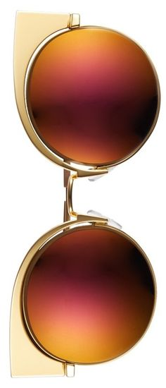 Swooning over these Fendi sunnies! Tipped-up corners add a saucy look to the rounded frames handcrafted in Italy.