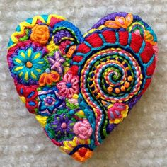 Handmade quilts, embroidered brooches & felt ornaments by Lucismiles - Browse unique items by Lucismiles on Etsy, a global handmade, vintage and creative goods marketplac - Embroidery Hearts, Crewel Embroidery, Beaded Embroidery, Embroidery Patterns, Embroidery Supplies, Heart Crafts, Wool Applique, Handmade Felt, Felt Ornaments
