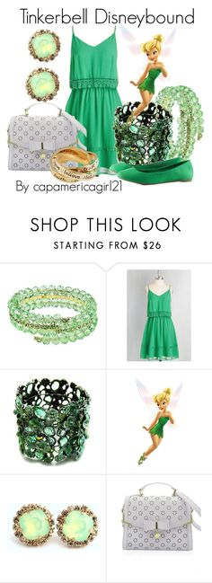 """Tinkerbell Disneybound"" by capamericagirl21 ❤ liked on Polyvore featuring 1928, Fantasy Jewelry Box, Disney and Disney Couture"