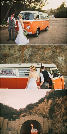 Orange VW for a getaway car is the perfect ending to this romantic Malibu wedding. Captured by @@yesdearstudio