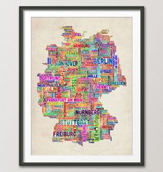 Typography Text Map of Germany Map, Art Print 18x24 inch (923). £14.99, via Etsy.