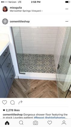 Gorgeous shower floor featuring the in stock Lourdes pattern! ・・・ This bathroom came together beautifully! I mean, look at that shower floor! If you are looking to buy in then you will want to see this house when it comes on the market! Bathroom Renos, Bathroom Flooring, Small Bathroom, Bathroom Colors, Bathroom Ideas, Bathroom Renovations, Bathroom With Wood Floor, Flooring Tiles, Wood Bathroom