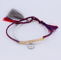 Je t'aime bracelet with red and navy braided cord by shopLUCA, luca jewelry, summer jewelry, boho bracelet, coachella style, bar bracelet, gold bar bracelet, name bracelet, name bar bracelet, french bracelet, handmade jewelry, custom made jewelry, nameplate bracelet, delicate bracelet, layering jewelry