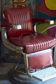 Un viejo y gastado sillón de barbero en Long Island 0609 Foto de archivo
