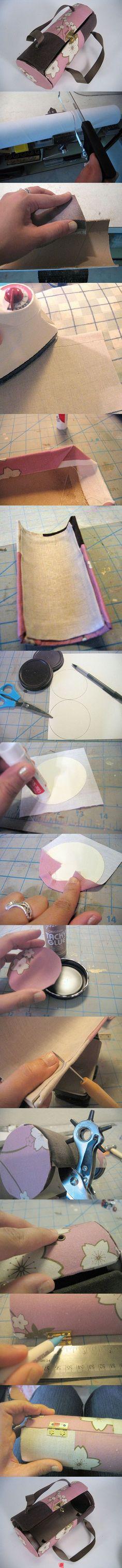 Nueva vida a los tubos de papel. Minibolso precioso. Utilízalo para lo que desees