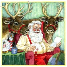 Santa reading kid's letters to reindeer