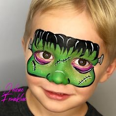 This the the cutest and most practical Frankenstein design I have ever seen! Love Jolene's work facepainting g halloween design Face Painting Halloween Kids, Mime Face Paint, Face Painting For Boys, Body Painting, Halloween Facepaint Kids, Superhero Face Painting, Facepaint Ideas, Frankenstein Face Paint, Frankenstein Halloween