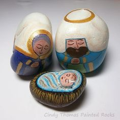 Humble joy painted rock nativity set