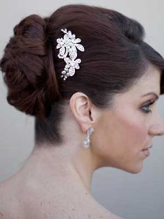 AA-S2349  Rhinestone and Pearl Bridal Hair Comb