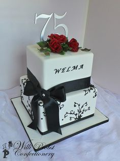 Black White Red Themed 75th Birthday Cake