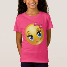 Portrait Illustration Cute girl emoji with pink bow T-Shirt - Who doesn't love emojis. This is a girl emoji smiling with a pink bow and lipstick. Soccer Inspiration, Girl Emoji, Girls Soccer, Cute Emoji, Portrait Illustration, Girls Shopping, Shirts For Girls, Cute Girls, Hot Pink