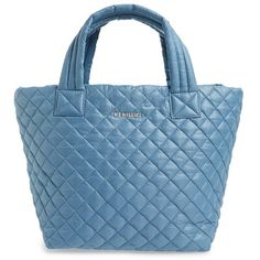 Women's Mz Wallace 'small Metro' Quilted Oxford Nylon Tote (260 CAD) ❤ liked on Polyvore featuring bags, handbags, tote bags, blue, quilted handbags, tote handbags, nylon handbags totes, blue purse and m z wallace tote
