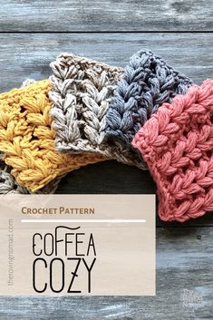 coffee cozy Coffee Coffea Cozy - Crochet Pattern - The Roving Nomad Crochet Coffee Cozy, Crochet Cozy, Quick Crochet, Crochet Fall, Diy Crochet Gifts, Crochet Pattern Free, Crochet Basket Pattern, Crochet Patterns, Potholder Patterns