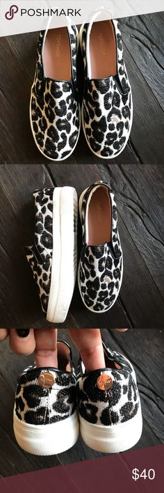 TOPSHOP Tucker Leopard PRINT SLIP ON SHOE SZ 6.5 Super cute.  Worn a couple of times.  These are perfect for any season and any wardrobe.  A leopard-spotted print takes these slip-on trainers for a walk on the wild side. Where will they take you? Textile upper and lining/synthetic sole Imported topshop Shoes Sneakers