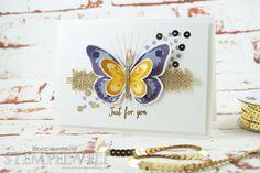 Stampin 'Up! _Watercolor Wings_Bold Butterfly Framelits_Butterfly Thinlits_Blauregen_Pflaumenblau_Aubergine_Safrangelb_Curry Gelb_Ockerbraun_Paillettenband_Jute Band_1