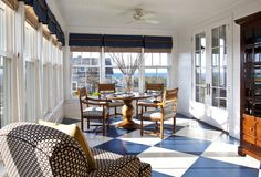 traditional porch by Jeannie Balsam LLC painted hardwood floors Painted Porch Floors, Painted Hardwood Floors, Porch Flooring, Floor Design, House Design, Ceiling Design, Checkerboard Floor, Traditional Porch, Sunroom Decorating