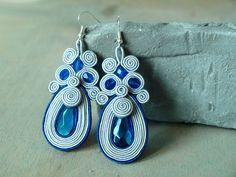 Soutache dangle earrings Blue grey drop earrings by ShoShanaArt