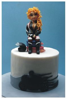 Motorbike girl Motorbike Cake, Motorbike Girl, Novelty Cakes, Motorbikes, Planes, Trains, Fondant, Sweet, Desserts