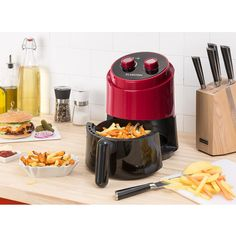 Well Air Fry Air Fryer Overheat Protection red - The practical cooking appliance for healthy food: With the Klarstein Well Air Fry air fryer, low-fat and fat-free cooking is quick and easy. Cooking Appliances, French Fries, No Cook Meals, Healthy Recipes, Healthy Food, Circulation, Grilling, Baking, Control