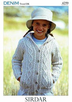 50a4d36699dace Sirdar Denim Tweed DK Knitting Pattern 4259 Hooded Jacket Children yrs - I  Crochet World