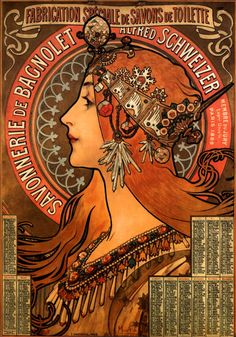 Page: Soap factory of Bagnolet    Artist: Alphonse Mucha    Completion Date: 1897    Style: Art Nouveau (Modern)    Genre: poster    Technique: lithography    Dimensions: 51.5 x 37 cm    Gallery: Private Collection    Tags: female-portraits, posters-and-advertisements