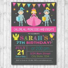 Princesses And Knights Birthday Invitation Card - Digital Print File by funkymushrooms on Etsy https://www.etsy.com/listing/198695088/princesses-and-knights-birthday