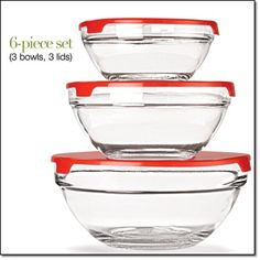 "Set of 3 Prep and Serve Bowls with Lids Perfect for prepping, serving and storing. Microwave- and dishwasher-safe. Approx. 5 1/2"" D to 8"" D x 2 1/2"" H to 3 1/2"" H. Glass and plastic. http://jgoertzen.avonrepresentative.com/"