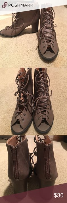 Lace Up Booties Size 7.5 lace up booties by the brand TOP Moda. Never worn. Bought at Nordstrom rack! Shoes Ankle Boots & Booties