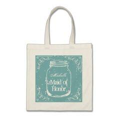Rustic mason jar maid of honor wedding tote bag