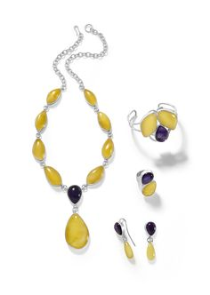 Carefully selected amber accompanied by amethyst.