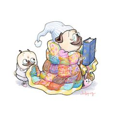 Bedtime Stories pug art print - cute baby pug puppy with quilt and book, pug watercolor, pug nursery print, pug sewing room art by Inkpug Pug Cartoon, Funny Cartoon Memes, Dog Memes, Chihuahua Art, Pug Art, Cute Baby Pugs, Cute Puppies, Pug Kawaii, Cute Dog Costumes