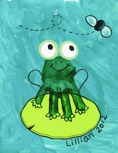Handprint Frog Craft.                                                                                                                                                      More