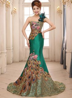 First-Class Shiny One Shoulder Lace-Up Mermaid/Trumpet Sweep/Brush Train Evening/Prom Dress