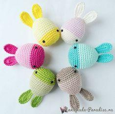 Пасхальные яйца-кролики крючком