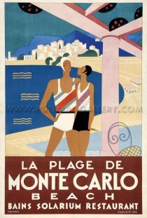 'La Plage de Monte Carlo' a rare original poster dated 1930. Linen mounted and unframed.     Dimensions: 43 x 31 inches (117 x 79 cms).    Price Code: ££££