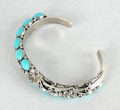 Authentic Native American Navajo Sterling Silver turquoise bracelet - Fashion Madame