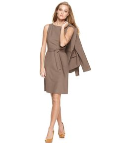 Tahari by ASL Dress, Sleeveless Belted Boat Neck Sheath - Suits & Suit Separates - Women - Macy's