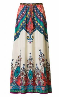 Womens modest aline maxi skirt with baroque print and banded waist. This skirt…