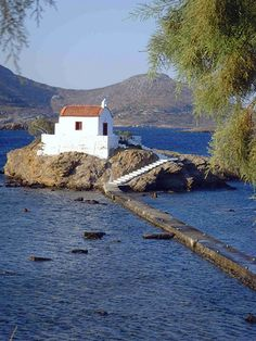 Must be the church in the movie Mamma Mia . Isidoros Church in Leros, Greece I was at a wedding there once, a long time ago! Mykonos, Santorini, Paros, Old Churches, Greece Islands, Chapelle, Place Of Worship, Greece Travel, Europe