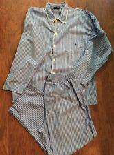 Mens pajamas Ralph Lauren Polo blue striped pants shirt L/S button Size L 36 -38