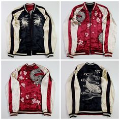 Japanese Vintage Black Beige Koi Fish Carp Dragon Ryu Art Sakura Cherry Blossoms Red Satin Souvenir Sukajan Jacket - Japan Lover Me Store