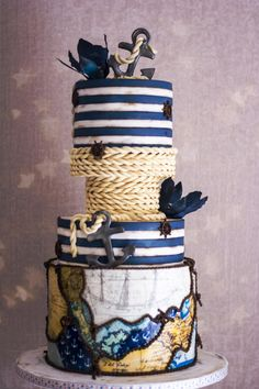 Marine lovers My husbands birthday cake……I wanted to make lighthouse but he didn't want cake at all 😀 Gorgeous Cakes, Pretty Cakes, Amazing Cakes, Nautical Cake, Nautical Theme, Nautical Wedding Cakes, Cupcakes, Cupcake Cakes, Birthday Cake For Husband