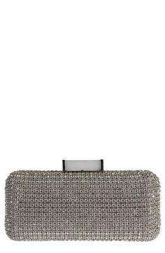 BADGLEY MISCHKA CUSP EMBELLISHED CLUTCH - METALLIC. #badgleymischka #bags #clutch #metallic #crystal #hand bags #