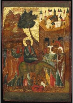 """Christ's Entry into Jerusalem,"" Yaroslavl, early century Palm Sunday, Icon Collection, Orthodox Icons, 17th Century, Auction, Christian, Fine Art, Jerusalem, Antiques"