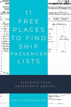 Did your ancestors arrive by ship? Check out these 11 free places to find ship passenger lists.#genealogy #genealogyresearch Free Genealogy Sites, Genealogy Research, Family Genealogy, Finding Your Roots, Finding Yourself, African American Genealogy, Find Your Ancestors, Ship Names