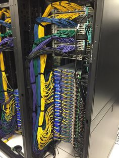 """Post with 11522 views. One of the racks in """"my"""" data center Data Center Design, Best Home Automation, Data Room, Structured Cabling, Apple Pro, Server Rack, High Tech Gadgets, Cable Organizer, Network Cable"""