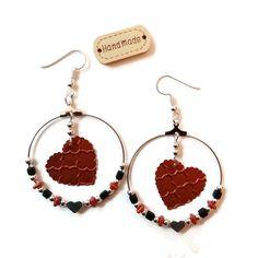 Boucles d'Oreilles Créoles - Coeurs Capsules Nespresso - Perles Miyuki - Verre - Recyclage - Bronze Argentées Noires : Boucles d'oreille par cap-and-pap