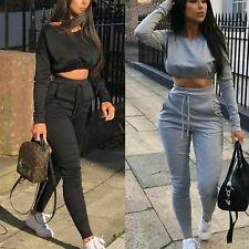 4046d203 New 2 Pcs Loungewear Tracksuit Ladies Casual Crop Top Jogging Suits Co-Ord  Sets